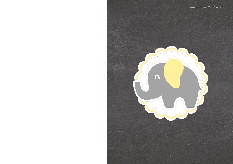 Convite Chalkboard Elefante Amarelo