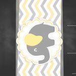 Convite Chalkboard Elefantinho Amarelo e Cinza Chevron 2