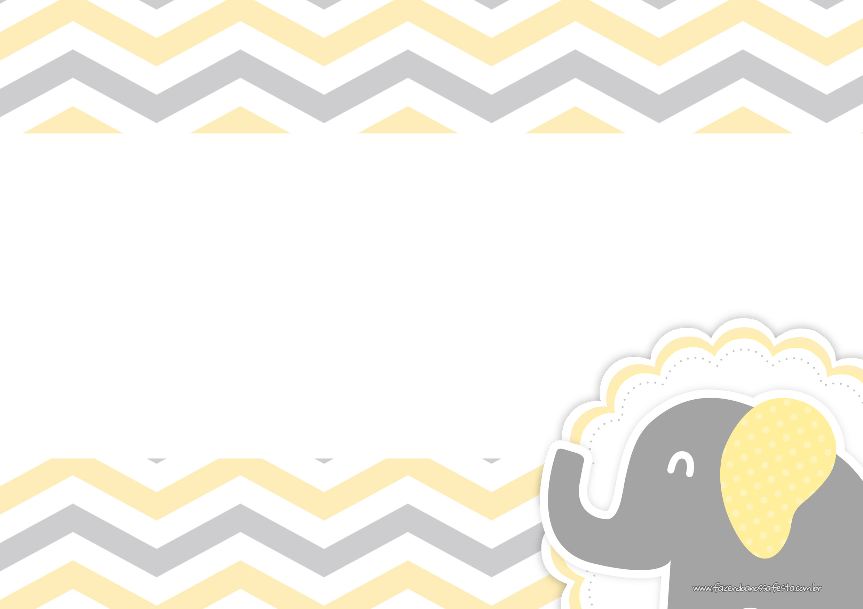 Convite Digital Elefantinho Amarelo e Cinza Chevron 2