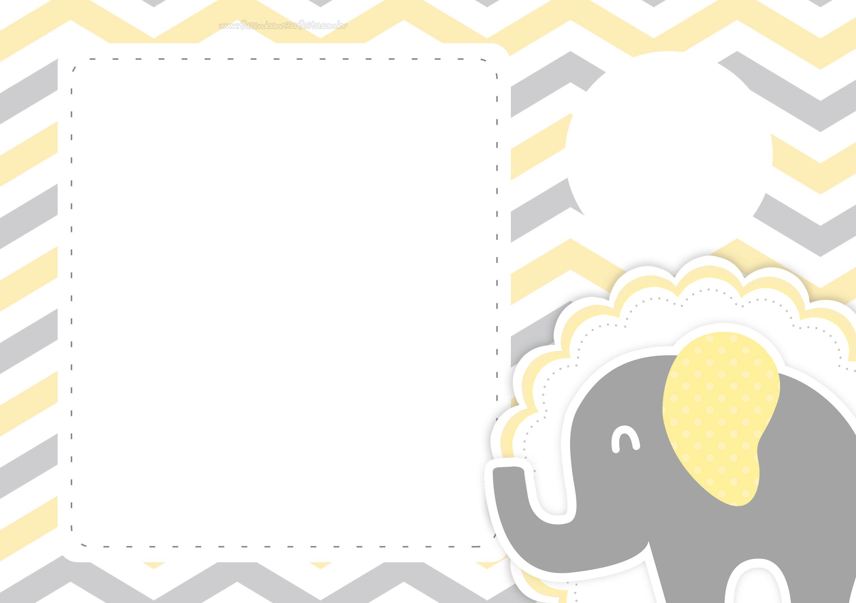 Convite Digital Elefantinho Amarelo e Cinza Chevron