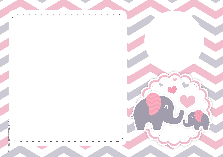 Convite Digital para Festa Elefantinho Rosa