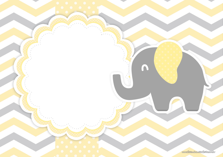 Convite Elefantinho Amarelo e Cinza Chevron 2