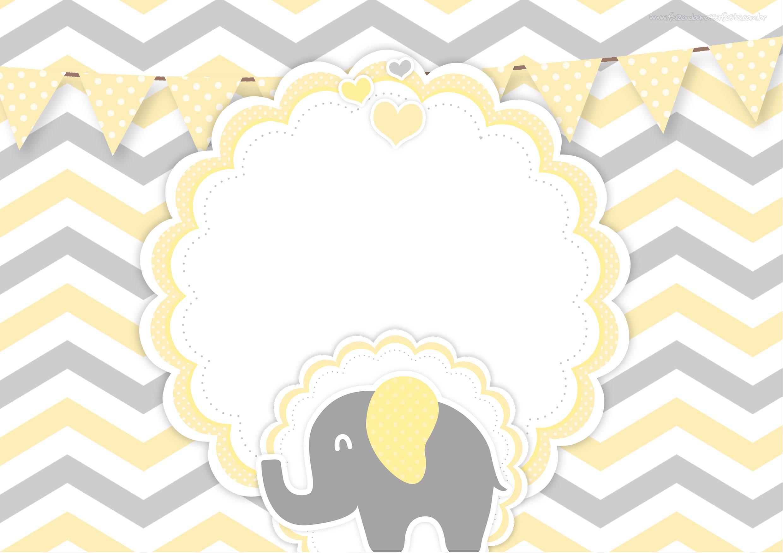 Convite Elefantinho Amarelo e Cinza Chevron 3