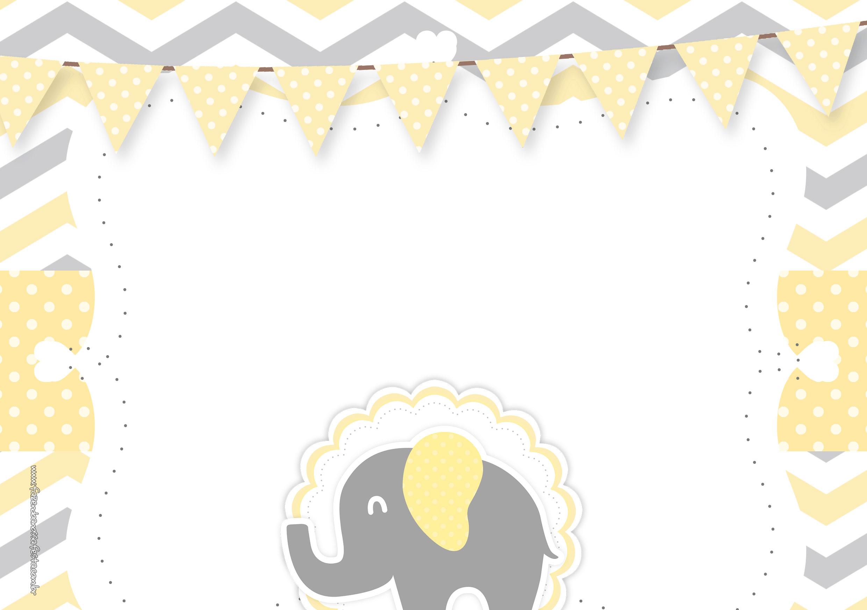 Convite Elefantinho Amarelo e Cinza Chevron 5