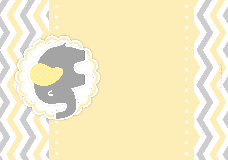 Convite Elefantinho Amarelo e Cinza Chevron 6