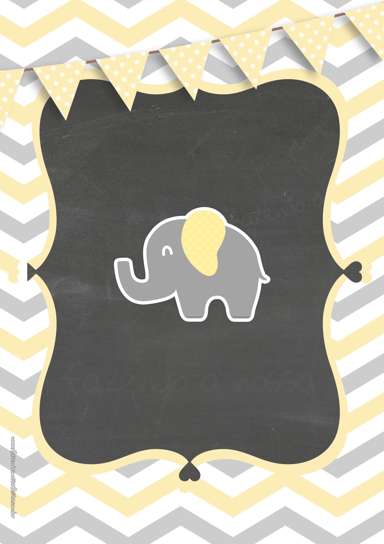Convite Elefantinho Amarelo e Cinza Chevron 7