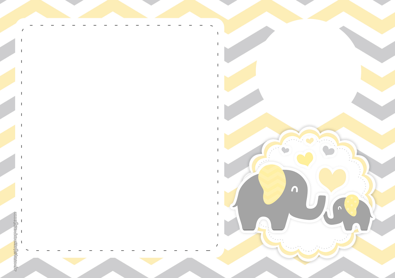Convite Elefantinho Amarelo e Cinza Chevron 8