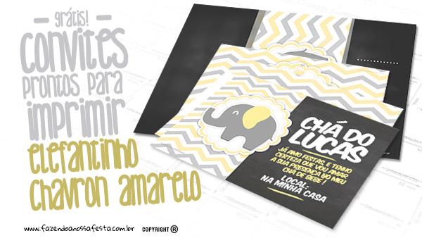 Convite Elefantinho Amarelo e Cinza Chevron Modelo