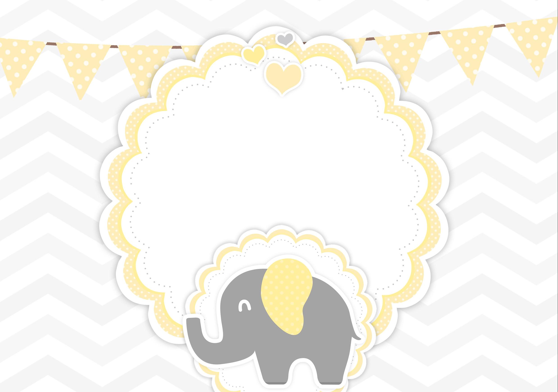 Convite Elefantinho Amarelo e Cinza Chevron
