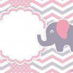 Convite Elefantinho Rosa e Cinza Chevron