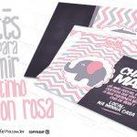 Convite Elefantinho Rosa e Cinza Chevron Grátis para Imprimir