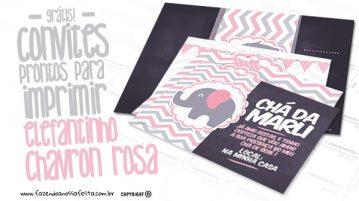 Convite Elefantinho Rosa e Cinza Chevron Modelo