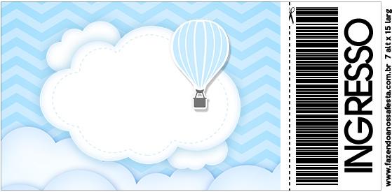 Convite Ingresso Balão de Ar Quente Azul