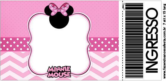 Convite Ingresso Minnie Rosa