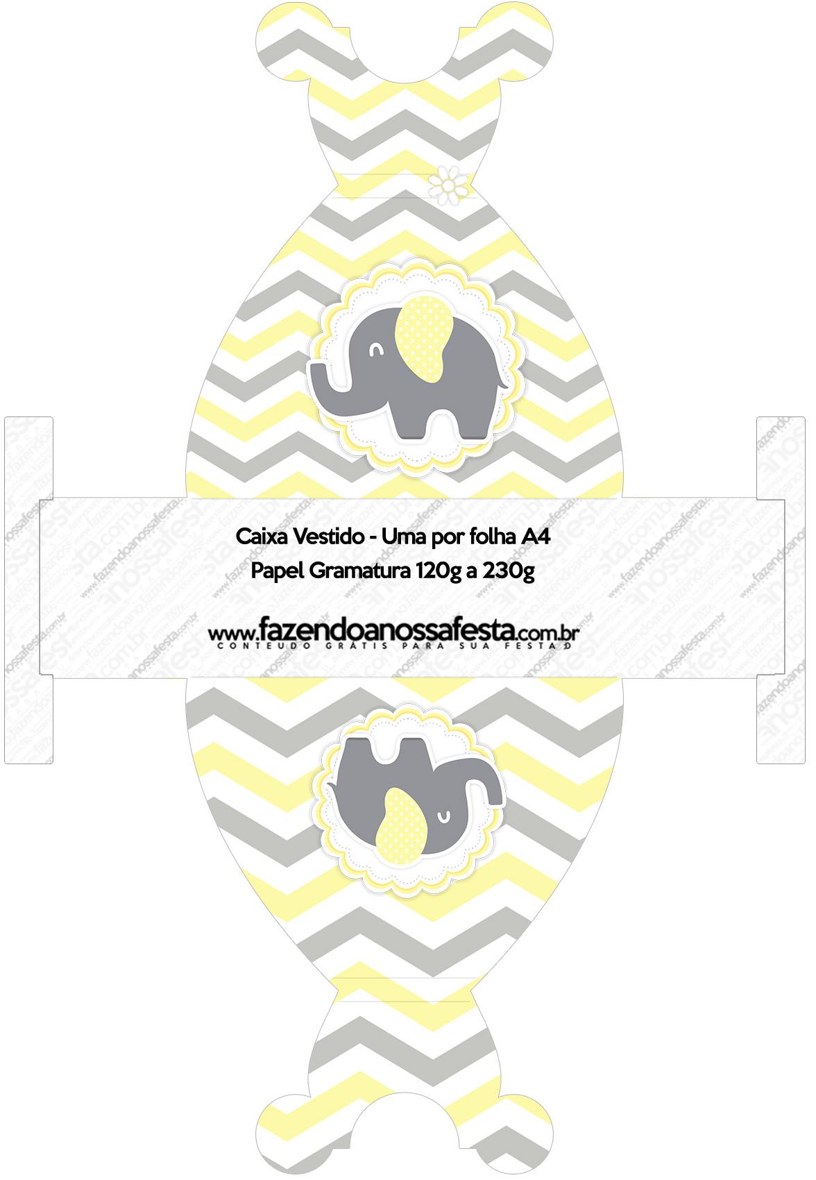 Convite Vestido 83 Elefantinho Chevron Amarelo e Cinza
