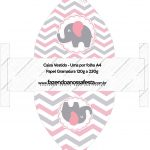 Convite Vestido 83 Elefantinho Rosa e Cinza Chevron