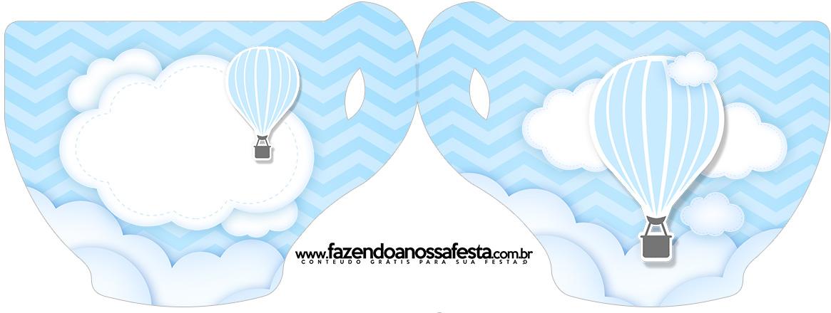 Convite Xícara Balão de Ar Quente Azul