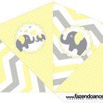 Cone Guloseimas 4 lados Elefantinho Chevron Amarelo e Cinza