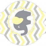 Enfeite Canudinho Elefantinho Chevron Amarelo e Cinza