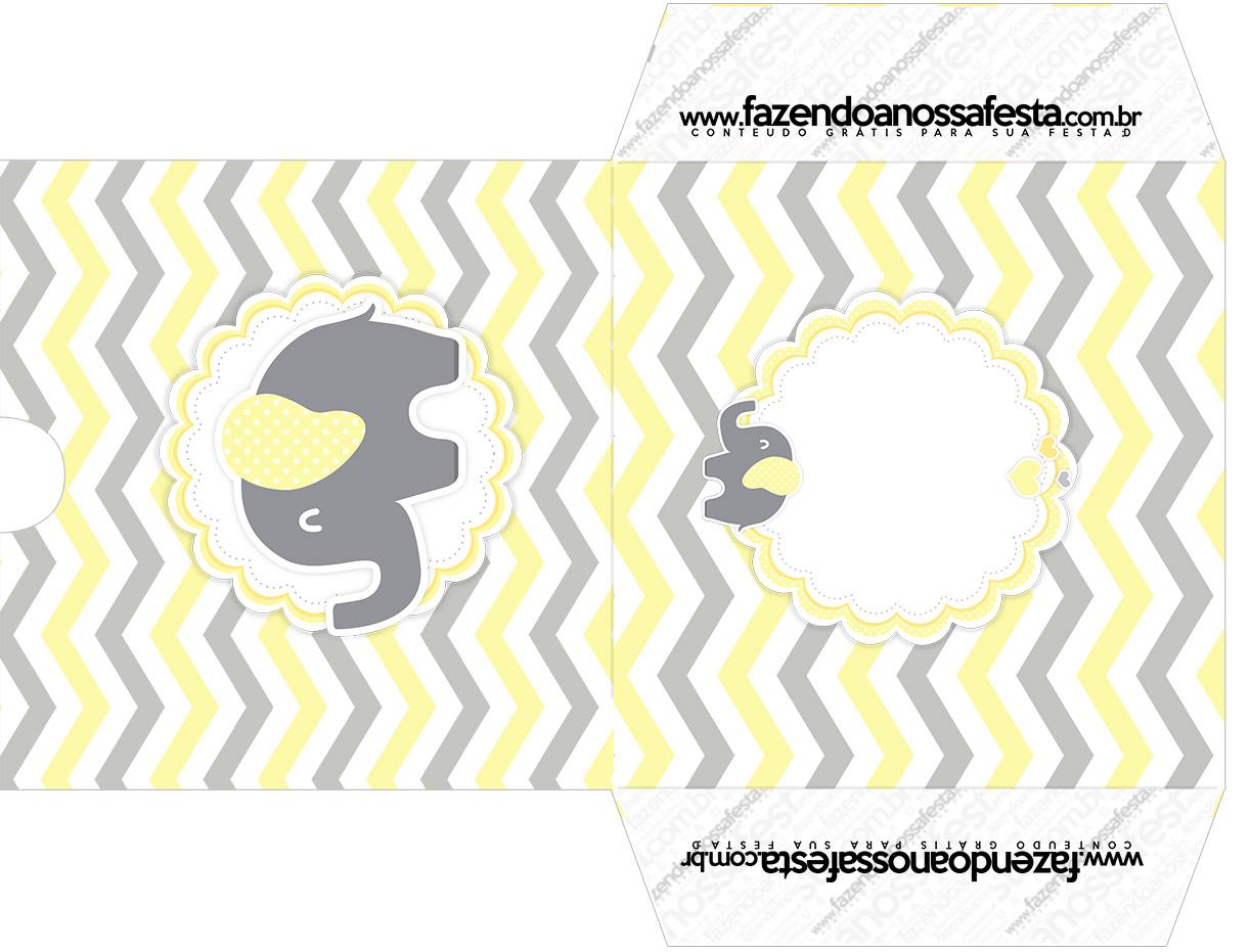 Envelope CD DVD Elefantinho Chevron Amarelo e Cinza