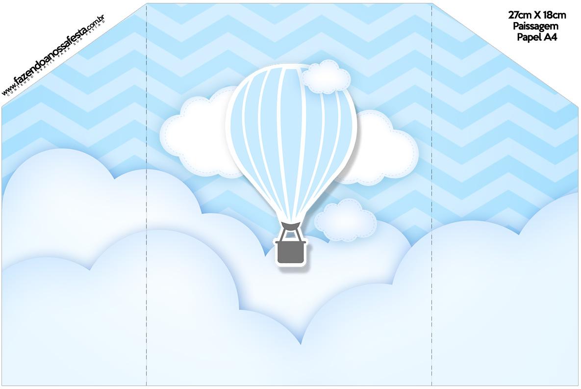 Envelope Convite Balão de Ar Quente Azul Kit Festa
