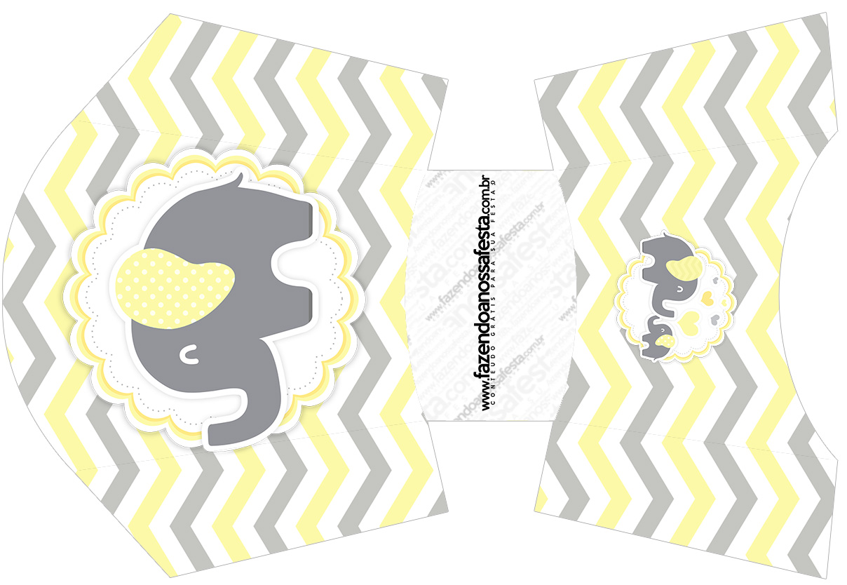 Envelope Fritas Elefantinho Chevron Amarelo e Cinza