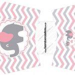 Envelope Fritas Elefantinho Rosa e Cinza Chevron