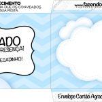 Envelope do Cartão Agradecimento Balão de Ar Quente Azul