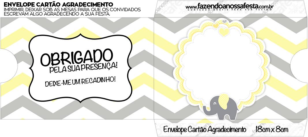 Envelope do Cartão Agradecimento Elefantinho Chevron Amarelo e Cinza