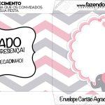 Envelope do Cartão Agradecimento Elefantinho Rosa e Cinza Chevron