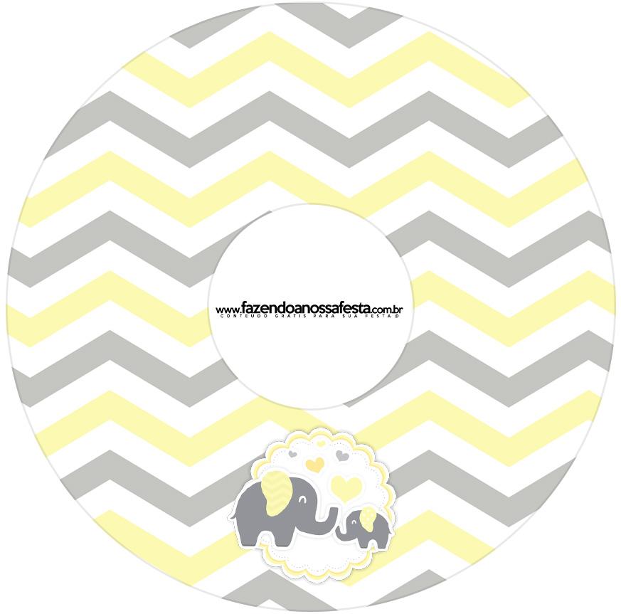 Etiqueta CD DVD Elefantinho Chevron Amarelo e Cinza