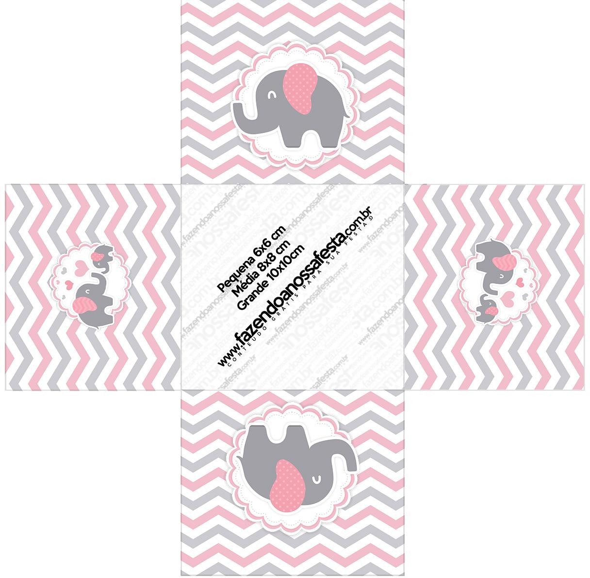 Forminha docinho quadrada Elefantinho Rosa e Cinza Chevron