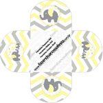 Forminhas Docinhos Elefantinho Chevron Amarelo e Cinza