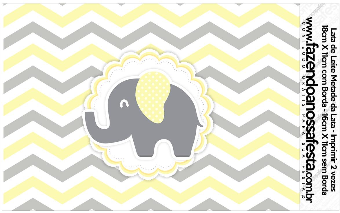 Lata de leite Elefantinho Chevron Amarelo e Cinza