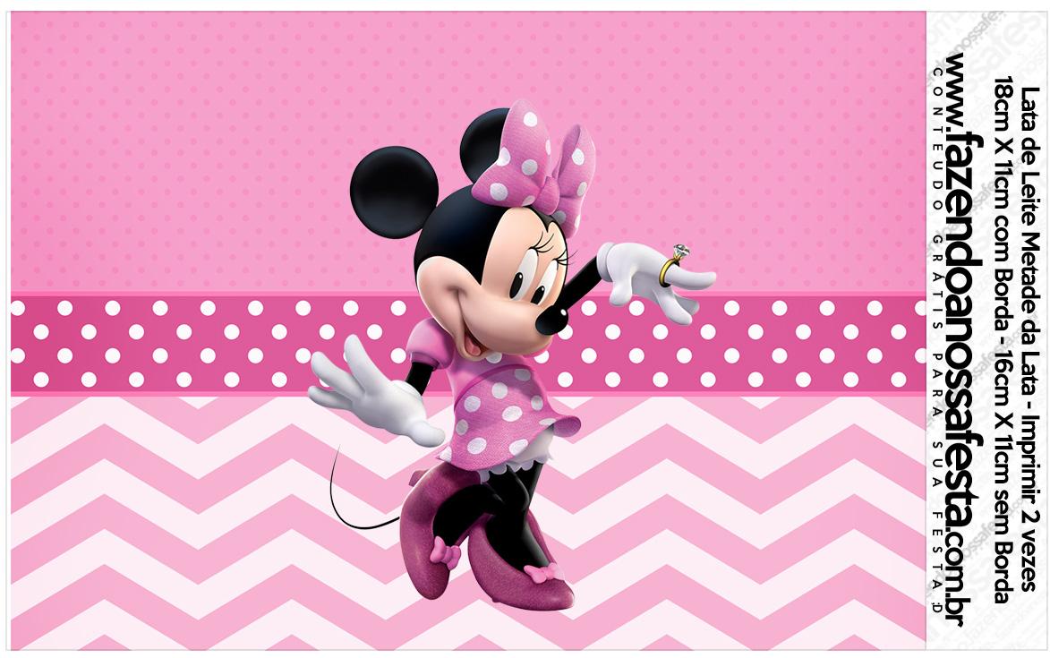 Lata de leite Minnie Rosa Kit Festa