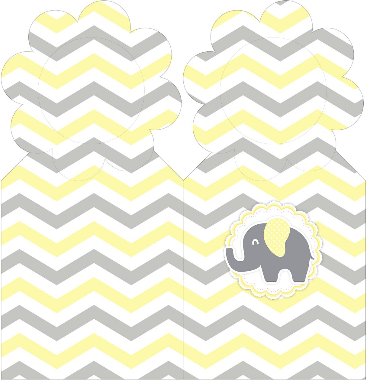 Marcador de Paginas Elefantinho Chevron Amarelo e Cinza