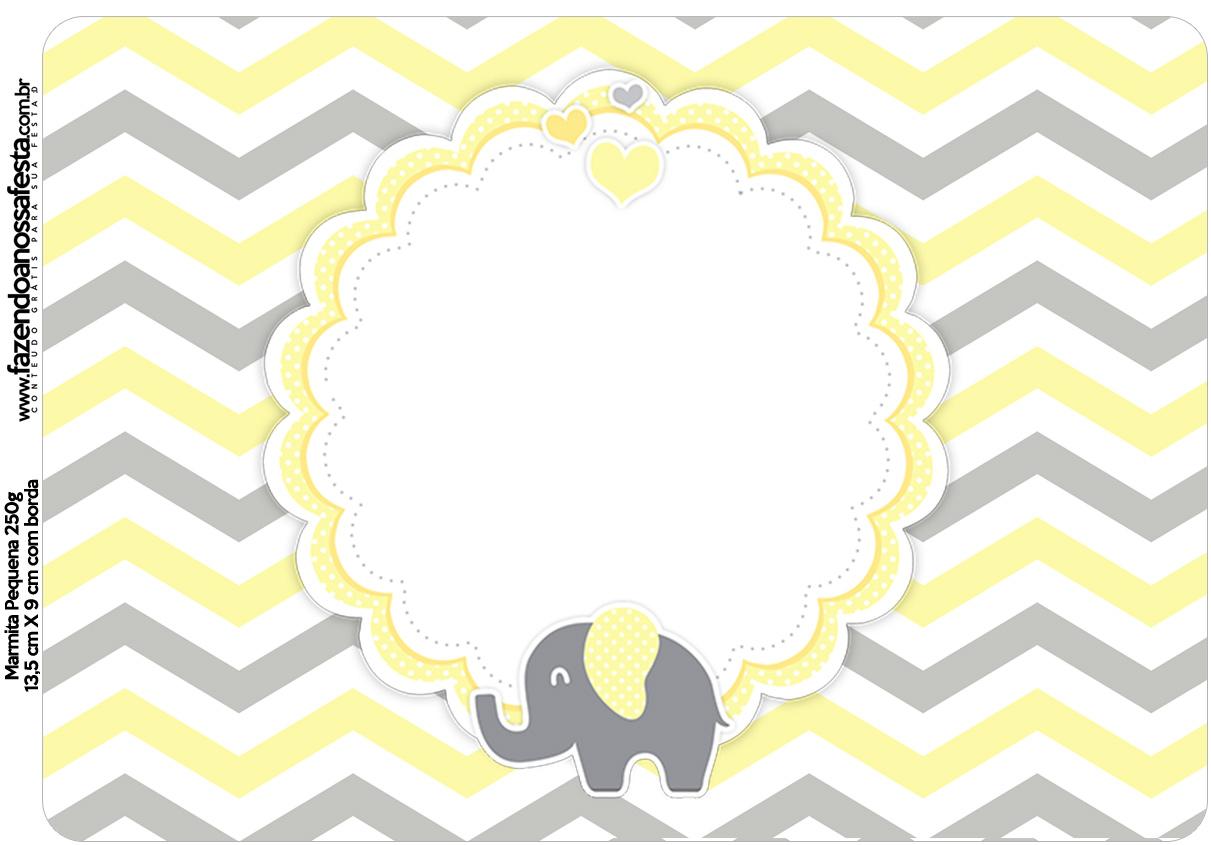 Marmitinha Grande Elefantinho Chevron Amarelo e Cinza