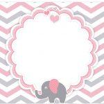 Marmitinha Grande Elefantinho Rosa e Cinza Chevron