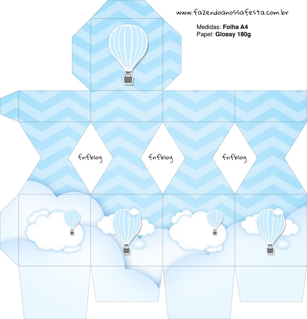 Meia Caixa Bala Balão de Ar Quente Azul