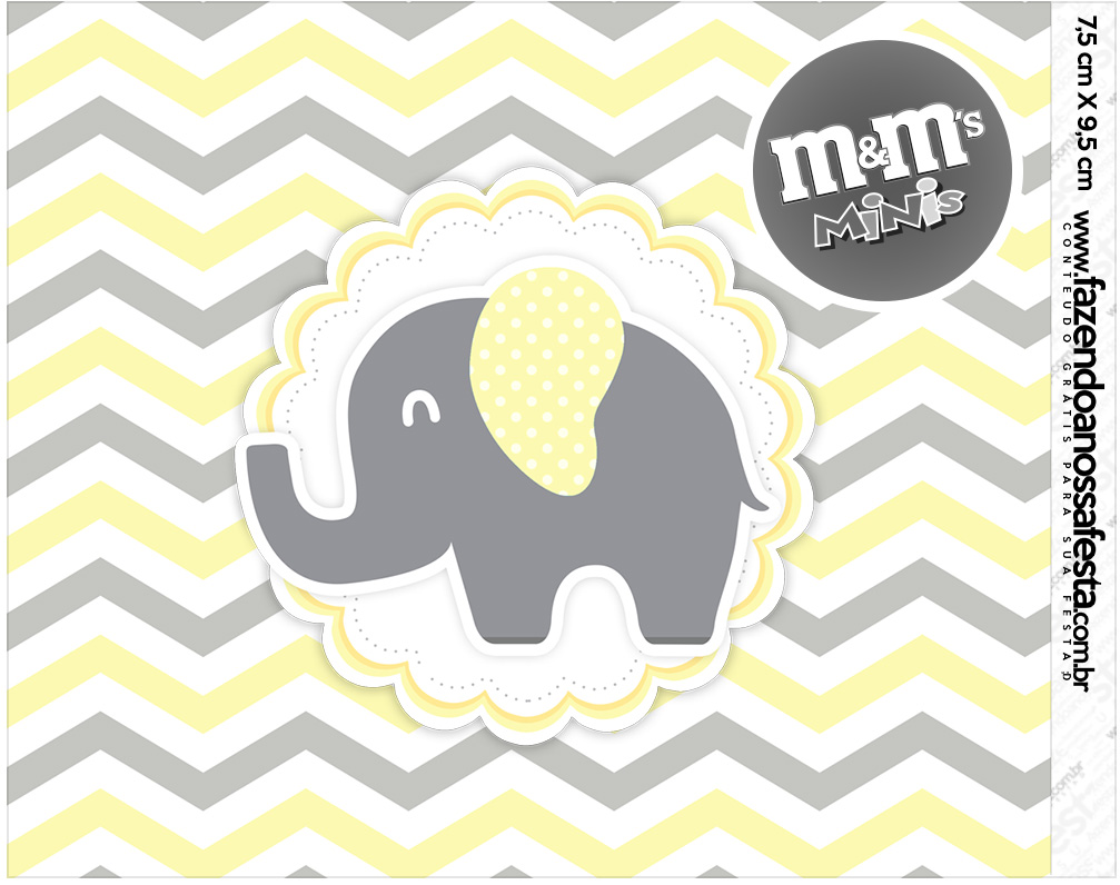 Mini MeM Elefantinho Chevron Amarelo e Cinza