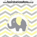 Mini Pastilha Docile Elefantinho Chevron Amarelo e Cinza