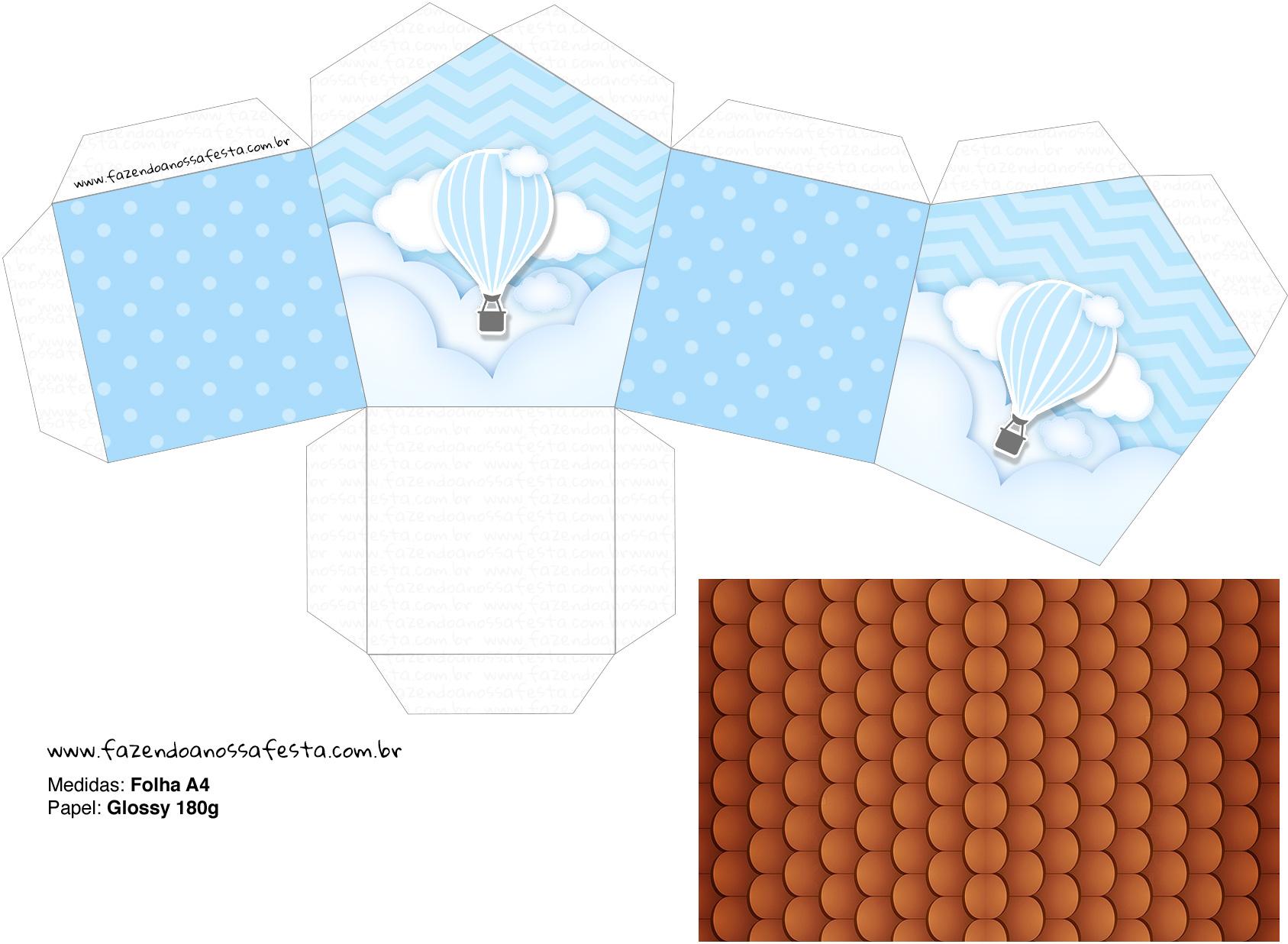 Molde Casinha Balão de Ar Quente Azul