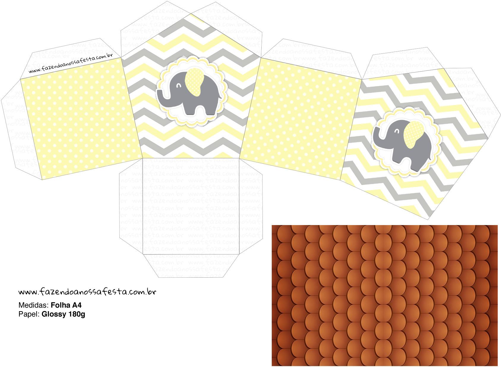 Molde Casinha Elefantinho Chevron Amarelo e Cinza