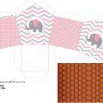 Molde Casinha Elefantinho Rosa e Cinza Chevron