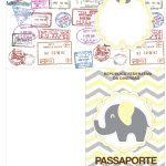 Molde Passaporte Elefantinho Chevron Amarelo e Cinza Kit Festa
