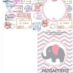 Molde Passaporte Kit Festa Elefantinho Rosa e Cinza Chevron