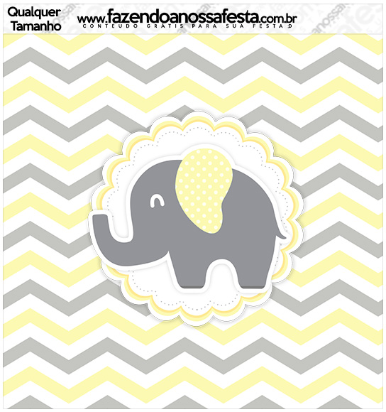 Molde Quadrado Elefantinho Chevron Amarelo e Cinza