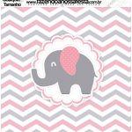 Molde Quadrado Elefantinho Rosa e Cinza Chevron