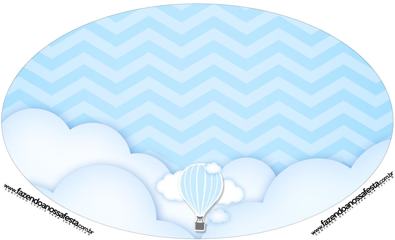 Placa Elipse Balão de Ar Quente Azul