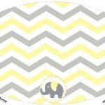 Placa Elipse Elefantinho Chevron Amarelo e Cinza